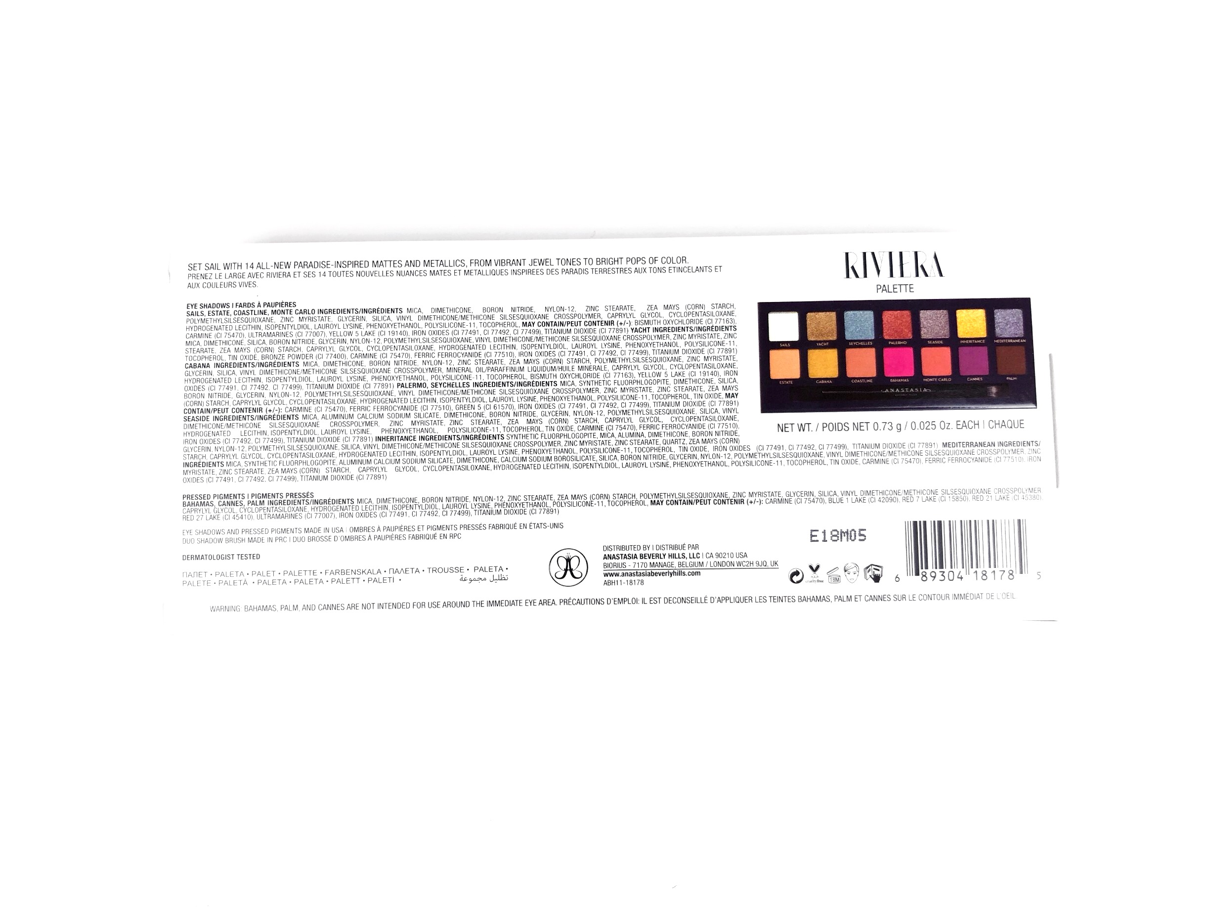 Packaging for the Anastasia Beverly Hills Riviera Palette