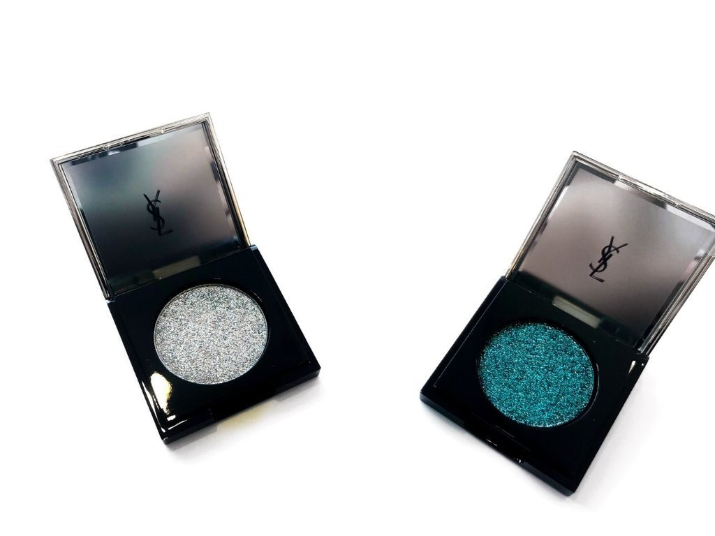 YSL Bold Blue, Empowered Silver Sequin Crush Mono Eyeshadow