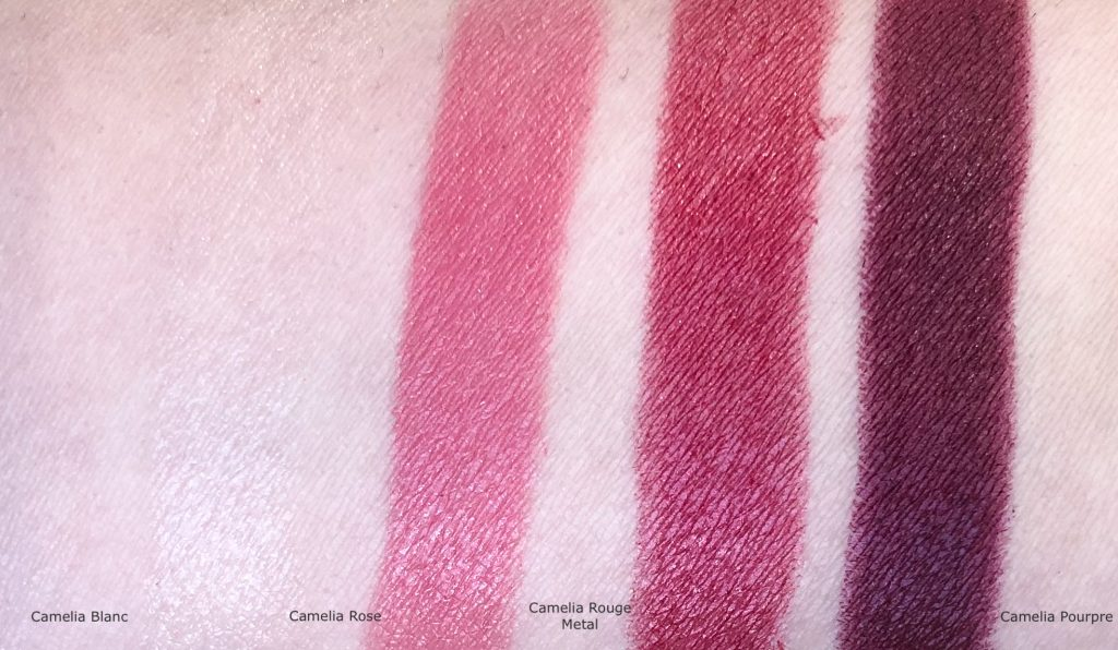 Chanel 337 Camelia Rose Rouge Allure Lipstick swatch, Chanel Camelia Blanc Rouge Allure Lipstick swatch, Chanel Camelia Rouge Metal Rouge Allure Lipstick swatch, Chanel Camelia Pourpre Rouge Allure Lipstick swatch